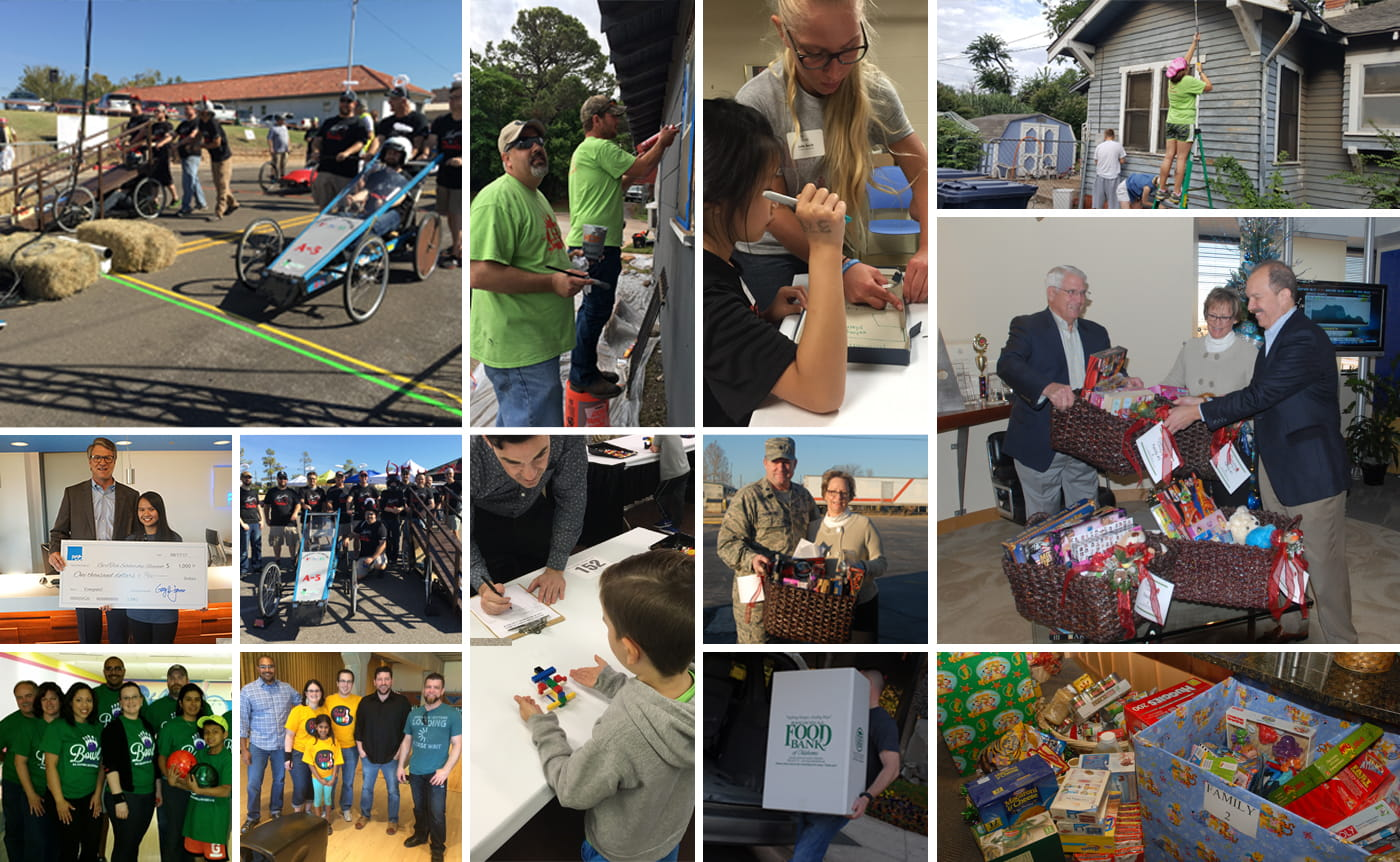 photo collage showing FSB employees as they give back to the community