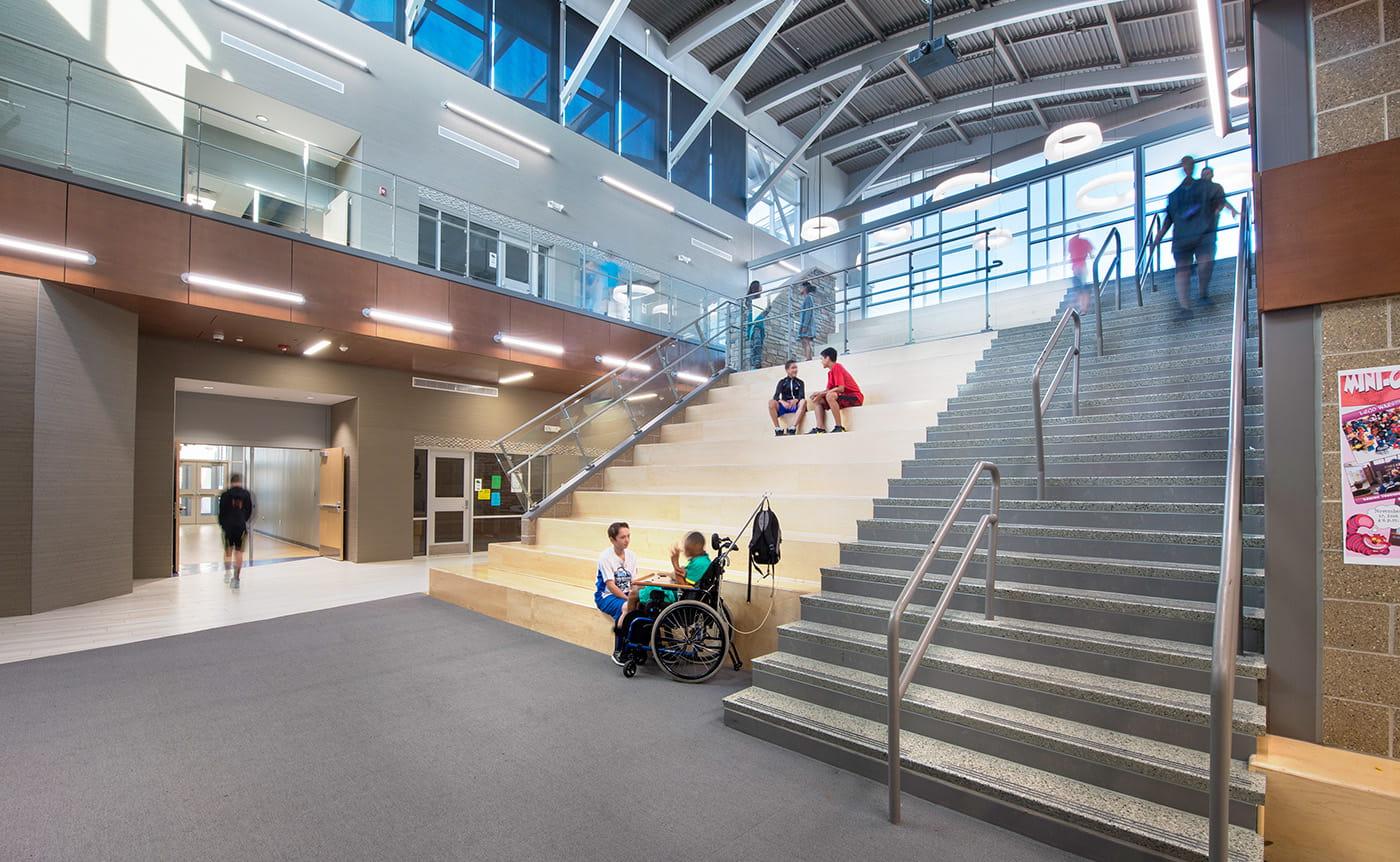 Eps heartland middle school interior learning stair edmond - Interior design schools in houston ...