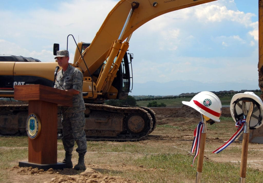Brig. Gen. Kevin Pottinger, ARPC commander, speaks during the groundbreaking ceremony for ARPC's new building at Buckley Air Force Base on July 23. The ceremony marked the beginning of an estimated $17 million, two-year construction project to build a new facility for ARPC. (U.S. Air Force photo/Ellen Edwards)