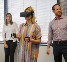 FSB staff showing University of Central Oklahoma interior design students how we use virtual reality in projects