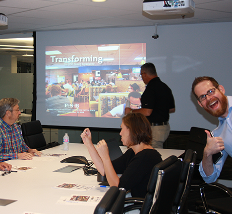 Architectural Production Manager Scott Oglesby giving a thumbs up during a meeting