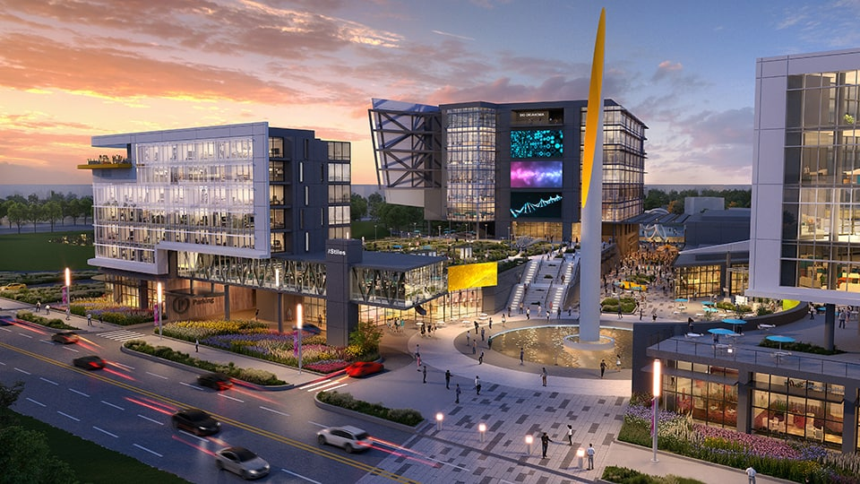Rendering of the Innovation District Plaza in Oklahoma City